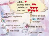 Lubię, uwielbiam,kocham...